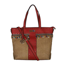 ESBEDA Black Color BIG Size Jute Tote Bag For Women,  red