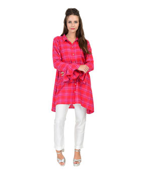 Red Yarn dyed cotton checks shirt, red, l