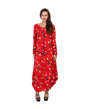 Red rayon long floral printed drape dress, red, m