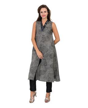 Grey hand block printed linen embroidered tunic, m, grey