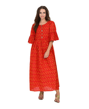 Red cotton Ikat gathered long dress, red, m