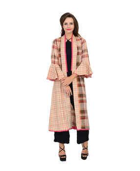 Multi color cotton A line woven checks jacket with a shawl collar, multi color, s