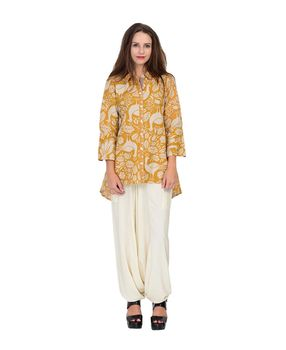 Mustard asymmetrical printed cotton top, mustard, m