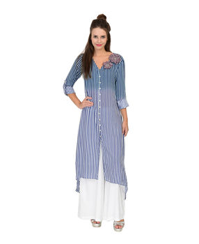 Blue and White striped rayon dress, blue and white, s