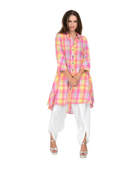 Multicolor Pink checks asymmetrical shirt., multi color and pink, xs