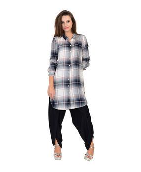 Black, Grey and White cotton twill checks long shirt., black grey and white, m