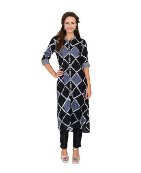 Black and Grey rayon geometric print kurta, black and grey, l