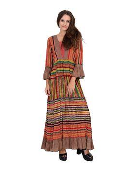 Multi colored block printed tiered long dress, multi color, l