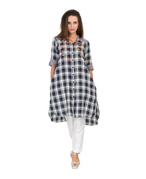 Black and White checks cotton shirt, black and white, l