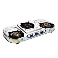 Sunshine Meethi Angeethi Three Burner VT-3 Stainless Steel Gas Stove, lpg, manual
