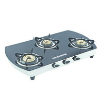 Sunshine Alfa Oval SS Three Burner Toughened Glass Gas Stove, lpg, manual