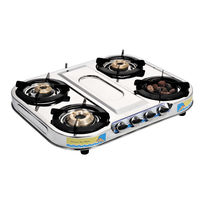 Sunshine Meethi Angeethi Four Burner Skytech Stainless Steel Gas Stove, lpg, manual