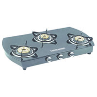 Sunshine Alfa Oval MS Three Burner Toughened Glass Gas Stove, lpg, manual