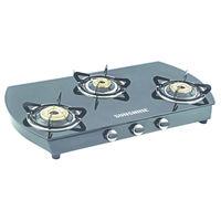 Sunshine Alfa Oval MS Three Burner Toughened Glass Gas Stove, lpg, manual