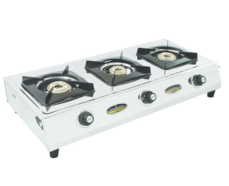 Elegant Sunshine Titanic Three Burner Stainless Steel Gas Stove. Loading Zoom