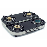 Sunshine Ceramic Four Burner Step Toughened Glass Top Gas Stove, lpg, manual