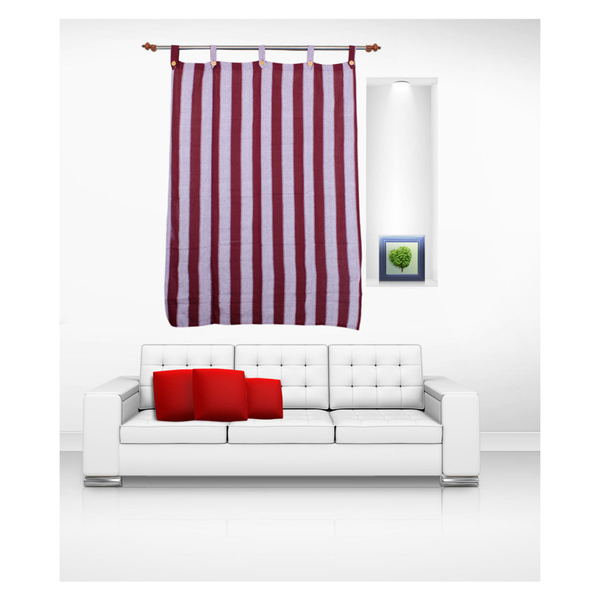 Luk Luck Cotton Ring Rod Striped Window Curtain (Set Of 2)