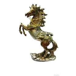 (DECO JUNCTION) Running Horse, poly stone, golden, 11.5x6x26 cm