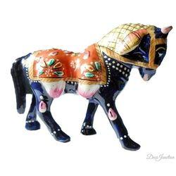 (DECO JUNCTION) Horse Metal Meenakari - 4 Inch, meenakari  metal, navy blue, 4 x 1.5 x 3 inches