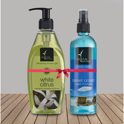 NATURAL BATH & BODY White Citrus Shower Gel+ Sweet Ocean Body Mist