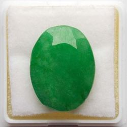 RUDRA GEMS Emerald Gemstone, oval faceted, 19.36 14.75 6.80mm, 13.57cts 15.07ratti