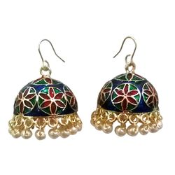 Deco Junction Jhumki With Meenakari Designer Red, Blue And Green Colur With White Pearl Ally Merial 3cm, 3, red & blue