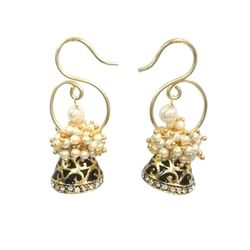 Deco Junction Pearl Small Western And indinan look earring, 2.5, golden