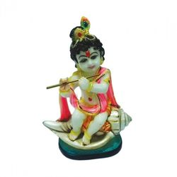 DECO JUNCTION Krishna on Conch - Sitting, poly stone, multi colour, 16 20 19