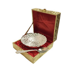 Jaipurace Royal Gift Silver Plated Brass Bowl With Golden Box