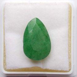 RUDRA GEMS Emerald Gemstone, pear faceted, 15.75 10.45 6.63mm, 6.82cts 7.57ratti