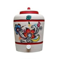MittiCool EARTHEN WATER POT (WITH PAINTING), 18 liters, 3
