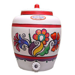 MittiCool EARTHEN WATER POT (WITH PAINTING), 10 liters, 1