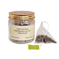 Wood & Petals green tea with indian masala, 10 tea bags