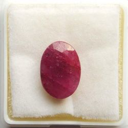 RUDRA GEMS Ruby Gemstone, oval faceted, 12.40 9.15 5.73mm, 6.55cts 7.27ratti
