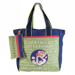 The Jute Shop Green n blue Bag