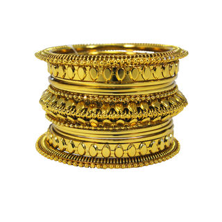 Alluring Trendy Gold Tone Metal Bangle Set For Girls, 2-8