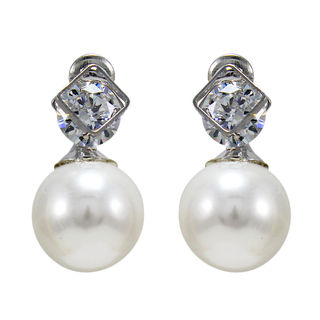 Square Design Stone And Pearl Adorned Fashion Studs