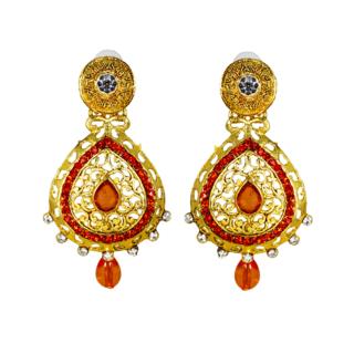 Ethnic Gold Plated Orange Cz Earrings For Women