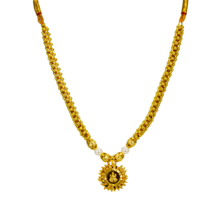 Golden Necklace In Goddess Lakshmi Design For Women