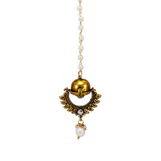 Borla Maang Tikka In Gold Tone And Pearl Chain