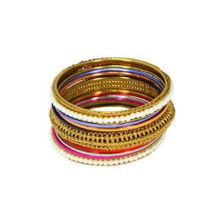 Elegant Multi-Color Set of Bangles In Alloy For Women, 2-6