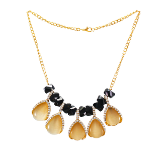 Black And Golden Fashion Alloy Necklace For Girls