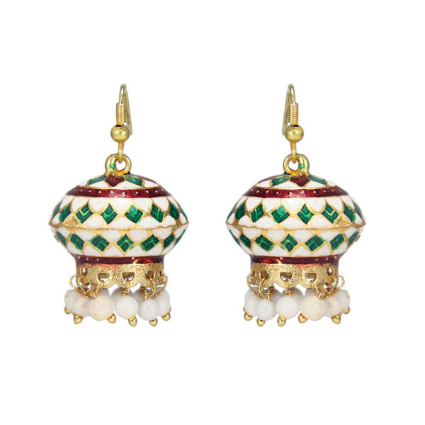 White And Green Round Artificial Meenakari Danglers