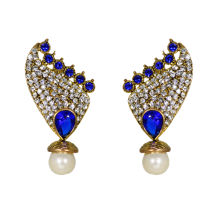 Ravishing Pair Of Danglers Adorned With Blue Stones And Pearls
