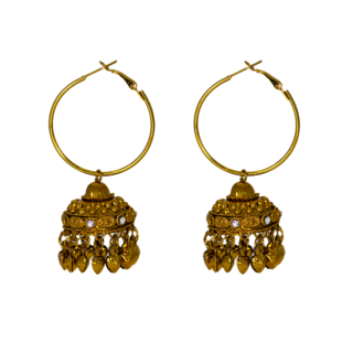 Graceful Ethnic Golden Jhumki Pair For Women