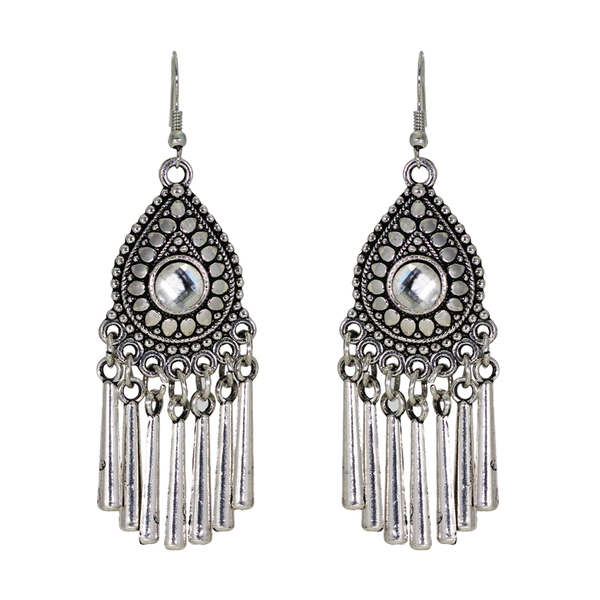 Sterling Silver Dangler Earrings In Oxidised Finish
