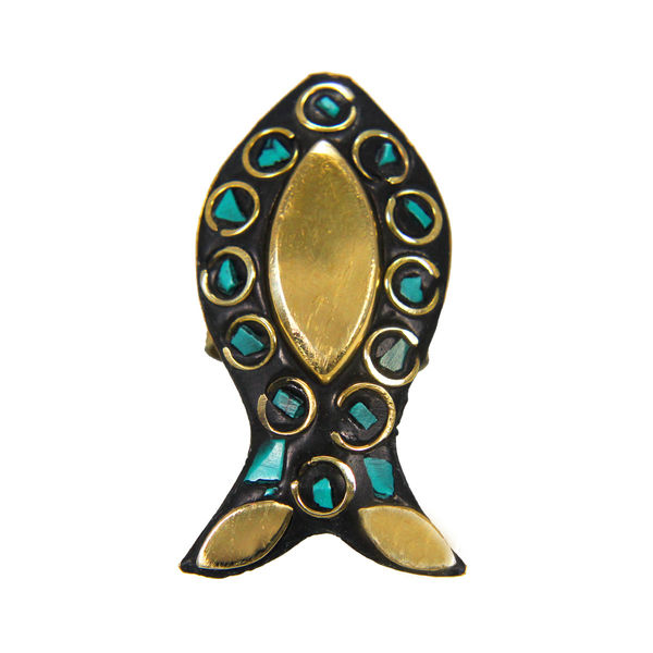Green Stone Antique Fashion Ring On Gold Tone For Women, adjustable