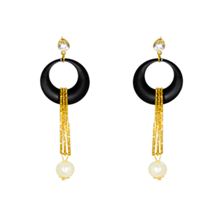 Beautiful Black Earrings With Dangling Pearl