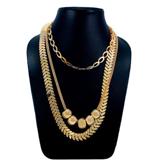 Designer Three Layer Fashion Necklace In Gold Tone