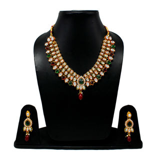 Traditional Necklace In Red And Green Stones